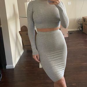 Grey two piece skirt & long sleeve